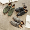 Autumn shoes for men 2 cm Thick soles Platform shoes Size 39-43 Fashion Green color loafers Men Lace-up Party shoes man casual