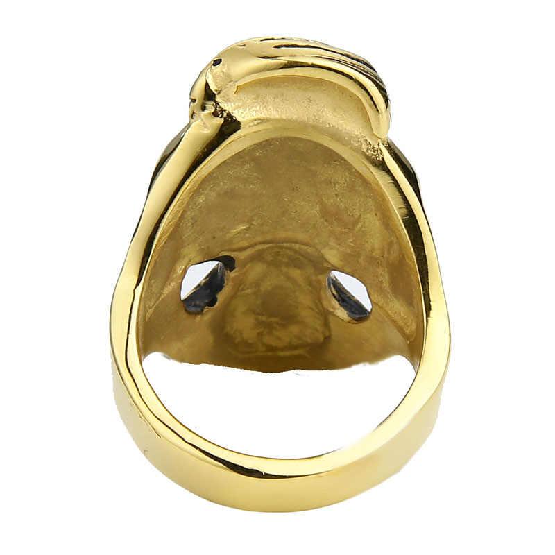 EdgLifU мужское кольцо с черепом старый джентльмен борода череп, кольцо для панков рок, хип-хоп из нержавеющей стали кольца с изображением усов ювелирные изделия