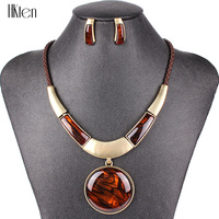 PN12618 Fashion Jewelry Sets Silver Plated Round Pendant Black Color Leather Rope High Quality Party Gifts