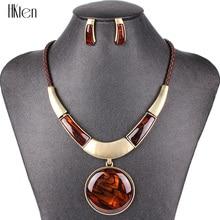 MS20129 أزياء العلامة التجارية مجموعات مجوهرات جولة قلادة 5 ألوان فو الجلود حبل عالية الجودة أسعار الجملة حزب هداياbrand jewelry setsfashion jewelry setjewelry sets