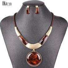 Ms20129 marca de moda conjuntos jóias pingente redondo 5 cores falso corda couro alta qualidade preço por atacado presentes festa