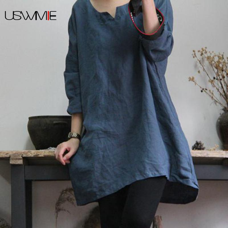 Women's Clothing 2019 New Design Spring And Autumn Chinese Style Color Collision Flax Printing Long Shirt Literary And Artistic Cardigan N085
