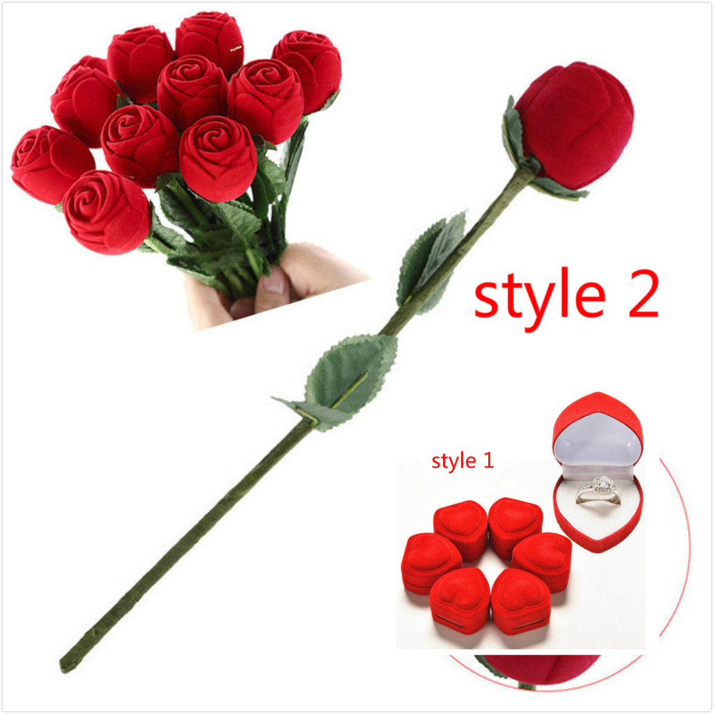 Mini Cute Red Carrying Cases Foldable Red Heart Shaped Ring Box For Rings Lid Open Velvet Display Box Jewelry Packaging 1Pcs Hot