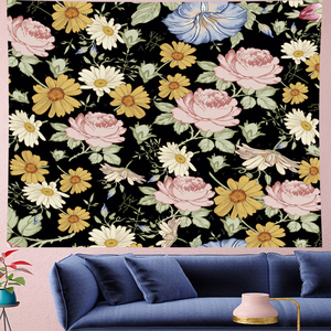 Image 1 - Nordic Style Summer tropical flower plantain macrame Tapestry Vintage Retro Polyester rose Wall Hanging home decor GN.PAPAYA
