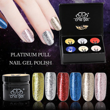 Che Gel Platinum Nail Polish Pull Gold Silver Gel Varnish Soak Off Lacquer Starry Sequins Lamp Gel Nail Polish Glitter Manicure