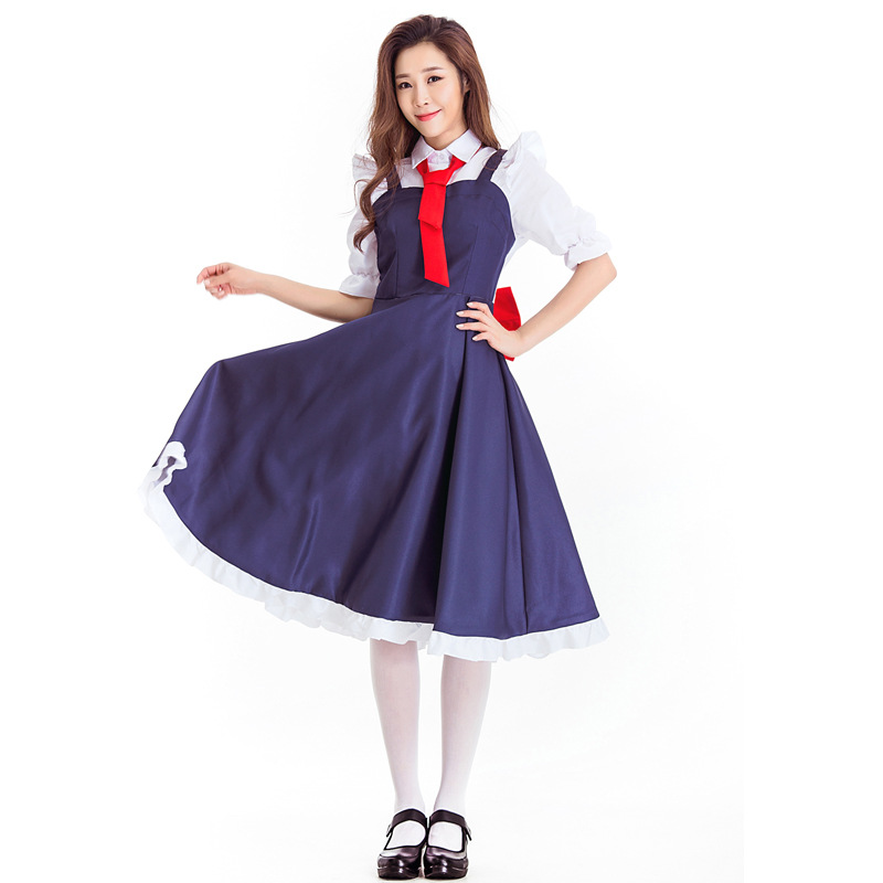 Servant Cosplay Fancy Party Dress Cute Red Bowknot Slim Maxi Long Cartoon Housemaid Cosplay Dresses Halloween Stage Dress