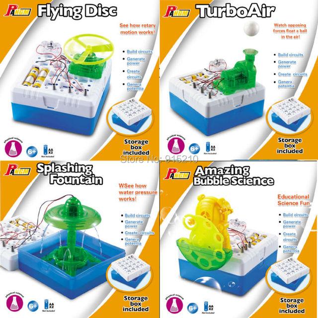 Kits de ciência DIY educacional Disco Voador, Fonte Salpicos, TurboAir, Bolha Incrível tecnologia de ciência popular modelo 4 estilos