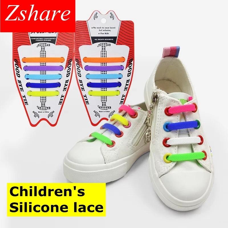 10pcs/lot Kids Silicone Shoelaces No Tie Elastic Shoe Laces Children's Rubber Shoelace