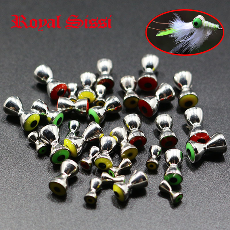 Royal Sissi 30 pcs Sunken Brass Dumbbell Beads Large& Medium Size with 3D Eyes Recessed fly tying crazy charlie brass eye beads