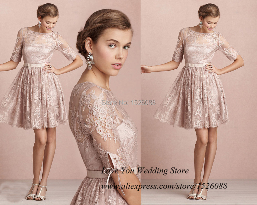 Champagne Pink Lace Short Prom Dress 2015 Modest Homecoming Dress ...