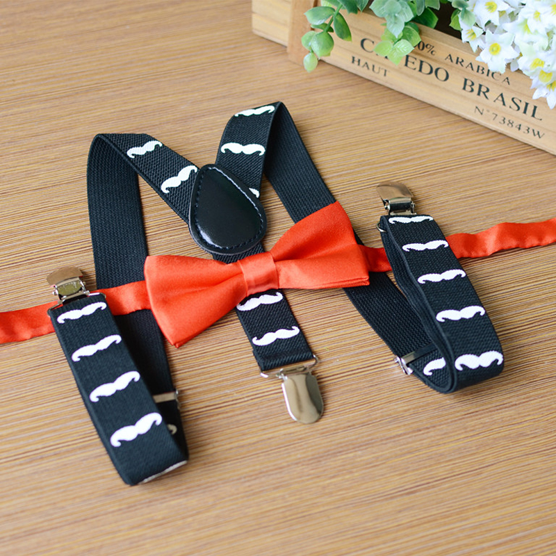 Personality Novelty Kids Print Suspenders Bowtie Set Y-back Elastic Adjustable Mustache Pattern Child Pants Clothes Accessories