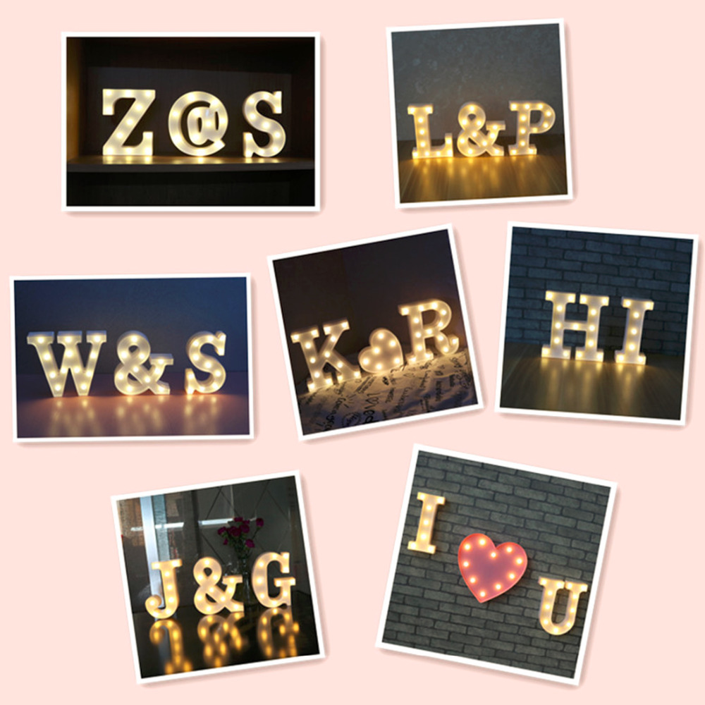 A-J Alphabet Letter LED Light White Light Up Decoration Symbol Indoor Wall Decoration We ...