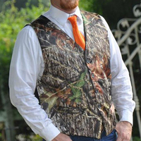 men camouflage vests for prom wedding groomwear man camo vest with hunter orange tie plus size custom make free shipping