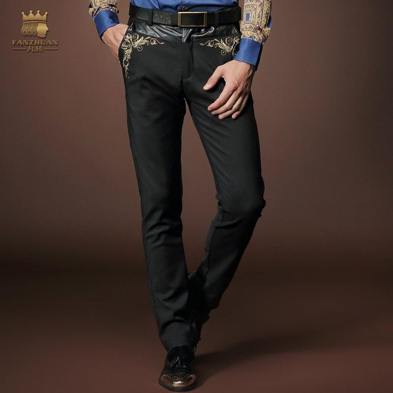 Fanzhuan 送料無料カジュアルメンズ新 2015 パターン男メンズウェアズボン、黒のスリムのウエスト刺繍男性パンツ 518003  グループ上の メンズ服 からの スキニーパンツ の中 1