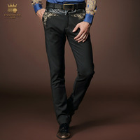 Fanzhuan Free Shipping casual Men's New 2015 pattern man Menswear Trousers Black Slim Middle waist Embroidery Male pants 518003