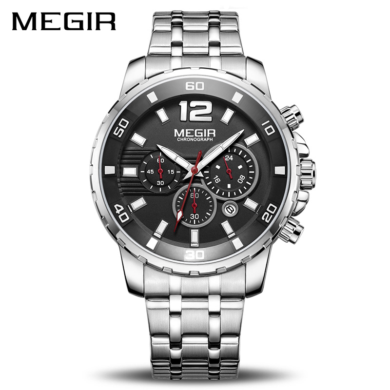 MEGIR Luxury Business Wrist Watch Men Brand Stainless Steel Chronograph Quartz Mens Watches Clock Hour Time Relogio Masculino luxury brand jedir male watches chronograph stainless steel quartz watch men business waterproof wrist watch relogio masculino