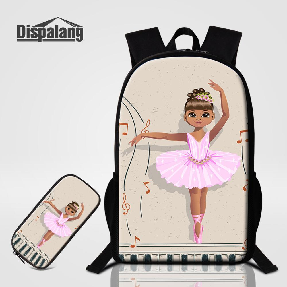 2 PCS Bags Set Dancing Ballet Girl School Bag With Penbox Yoga Print Backpack For Student Bookbag Women Fashion Bagpack Rucksack