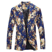 2016 New Arrival! Fashion New Design Men's Blazer, Floral Suit Personality Casual Blazer, Slim Fit Jacket for Male, TOPS COAT