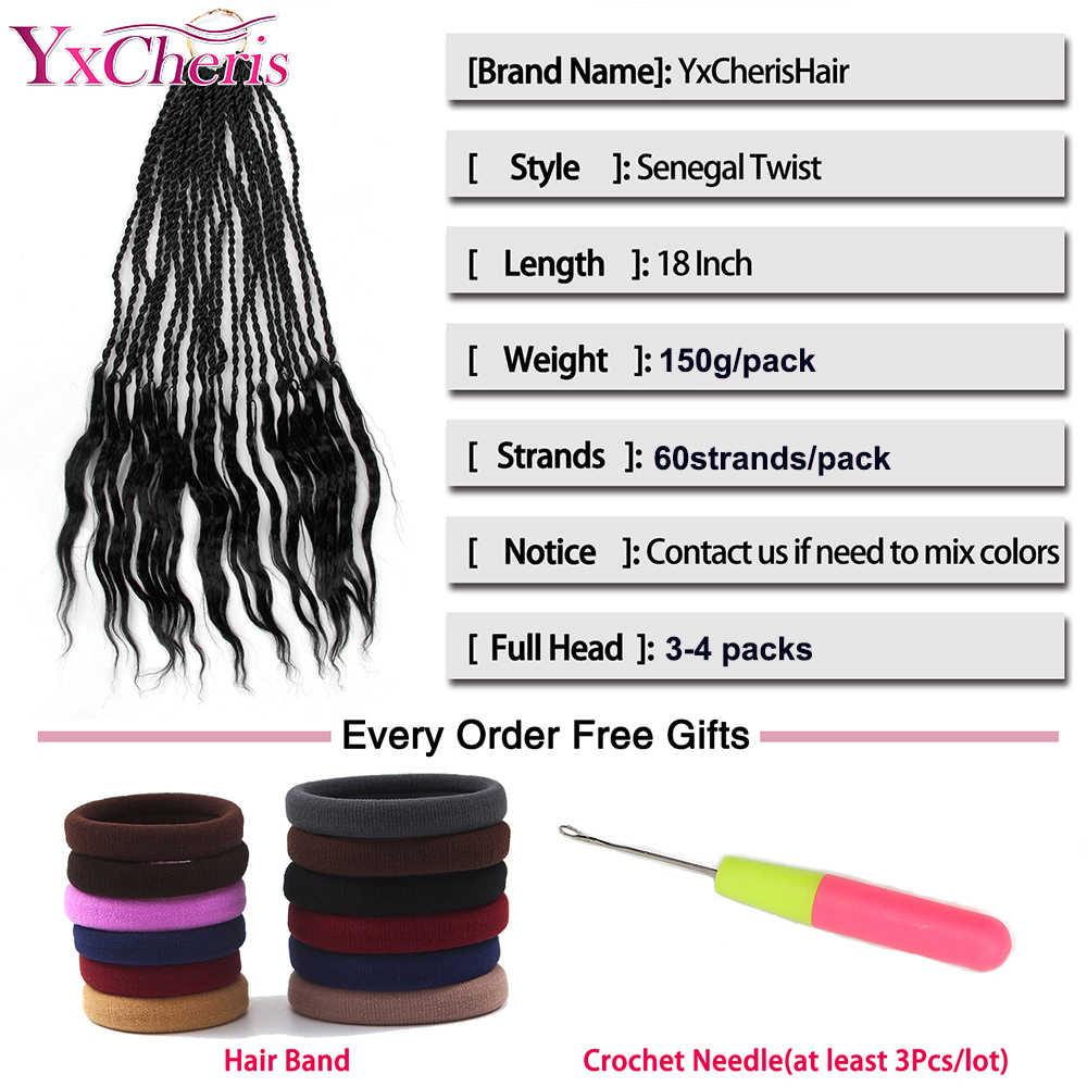 Сенегалский твист 18 ''канекалон синтетические плетеные волосы для наращивания в богемном стиле крючком оплетка для во