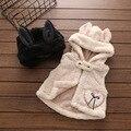 17 niña chaleco chaleco de los bebés con capucha de franela yobebe clothings outwear babys primavera chaleco del bebé del chaleco de solid negro 2-7 t