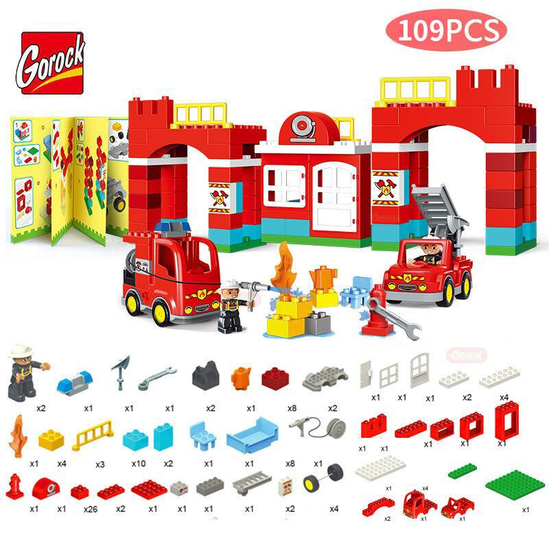 GOROCK 109PCS/SET City Fire Station Model Large Particles Building Blocks City Fireman Large Size Brick Toys Compatible Duploe gorock 109pcs big blocks city fire department firemen building blocks set kids diy bricks creative toys compatible with duploe