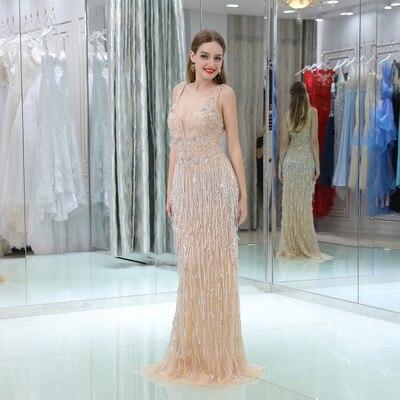 Ver Através de Vestidos de Noite Longo 2018 Pesado Frisada de Cristal Da Sereia Árabe Até O Chão Chegada Nova Prom Vestido