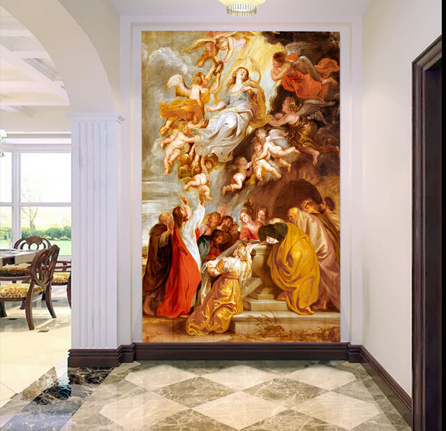 Custom wallpaper angel, the little angel and the virgin murals for the sitting room bedroom TV  wall fabric papel de parede custom ceiling murals wallpaper virgin maria and angel for the living room bedroom wall waterproof pvc papel de parede