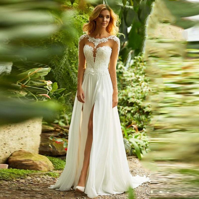LORIE Long Sleeve Lace Wedding Dress Scoop Appliques High Split Chiffon Skirt Vintage Plus Size Bride Dress Wedding Gown 2019