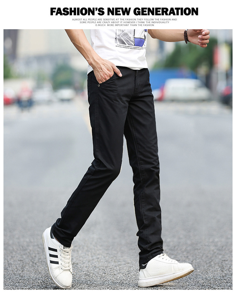 Business Casual Pants 11 Colors New Casual Pencil Pants Men Slim Pant Straight Trousers Solid Leisure Zipper Spring Summer k919 17