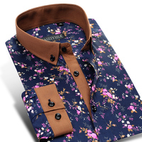 Men S 100 Cotton Floral Print Long Sleeve Flower Dress Shirt Contrast Patchwork Collar Cuff Smart