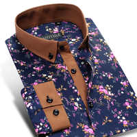 Men's 100% Cotton Floral Print Long Sleeve Flower Dress Shirt Contrast Patchwork Collar&Cuff Smart Casual Button-Down Shirts