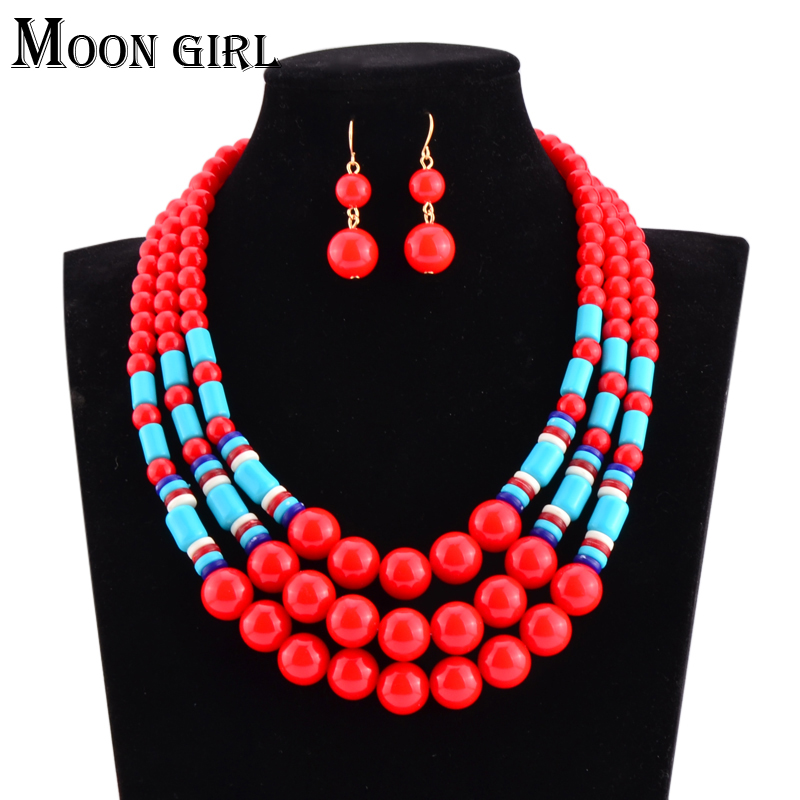 2 Color Acrylic African Beads Jewelry Set 2017 Uk New Nigerian Wedding Bridal Statement Necklace And Earring For Women In Sets From