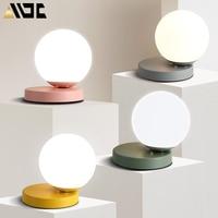 Moderne Glas Tisch Lampen Nordic Einfache Schlafzimmer Nacht Lesen Schreibtisch Lampe Hause Dekoration LED Tisch Lichter E27 Lamparas Beleuchtung-in LED-Tischleuchten aus Licht & Beleuchtung bei