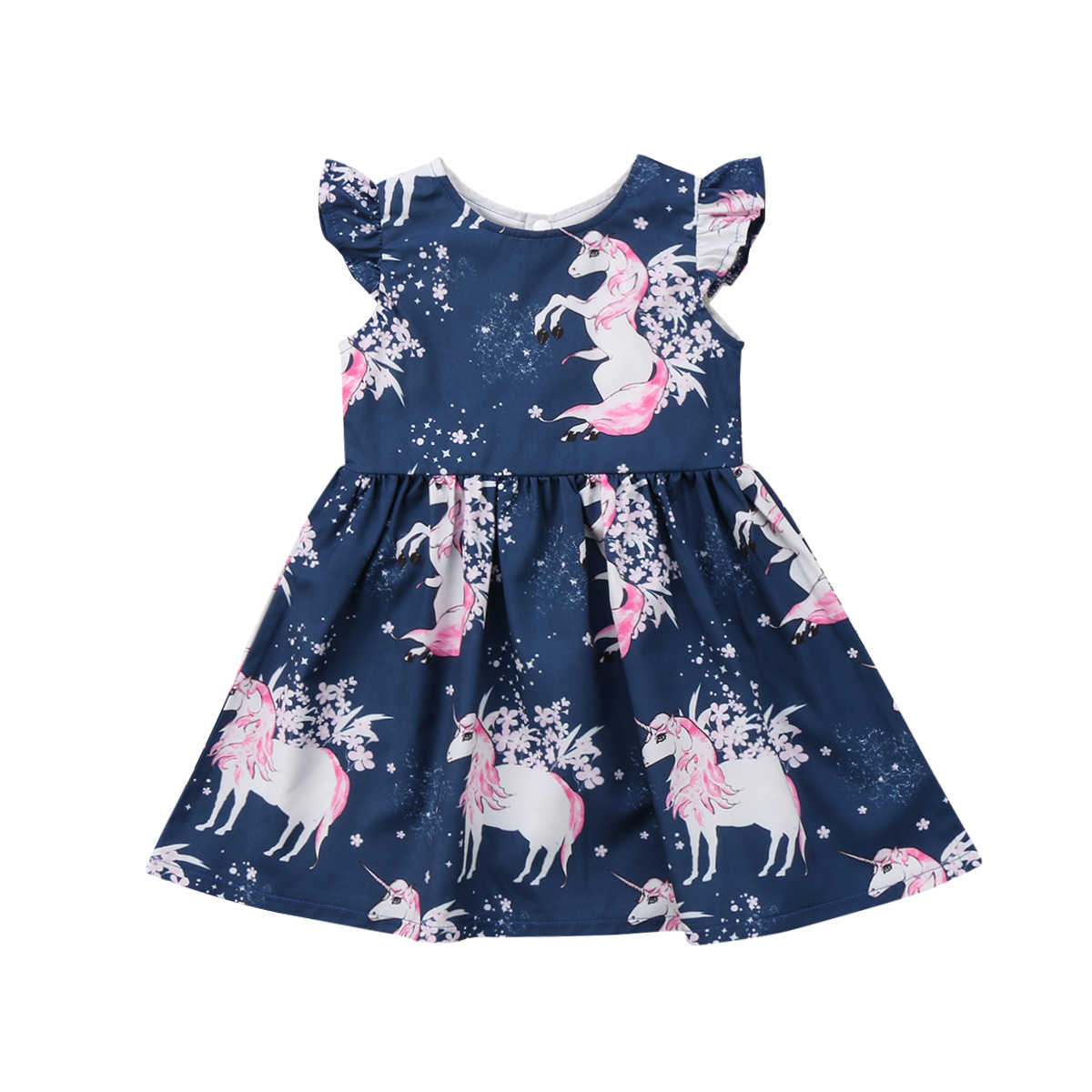 fcc73a4f56fc31 Toddler Baby Girls Dress Round Neck Floral Outfits Unicorn Summer Sleeveless  Blue Dresses Girl Clothing Cute