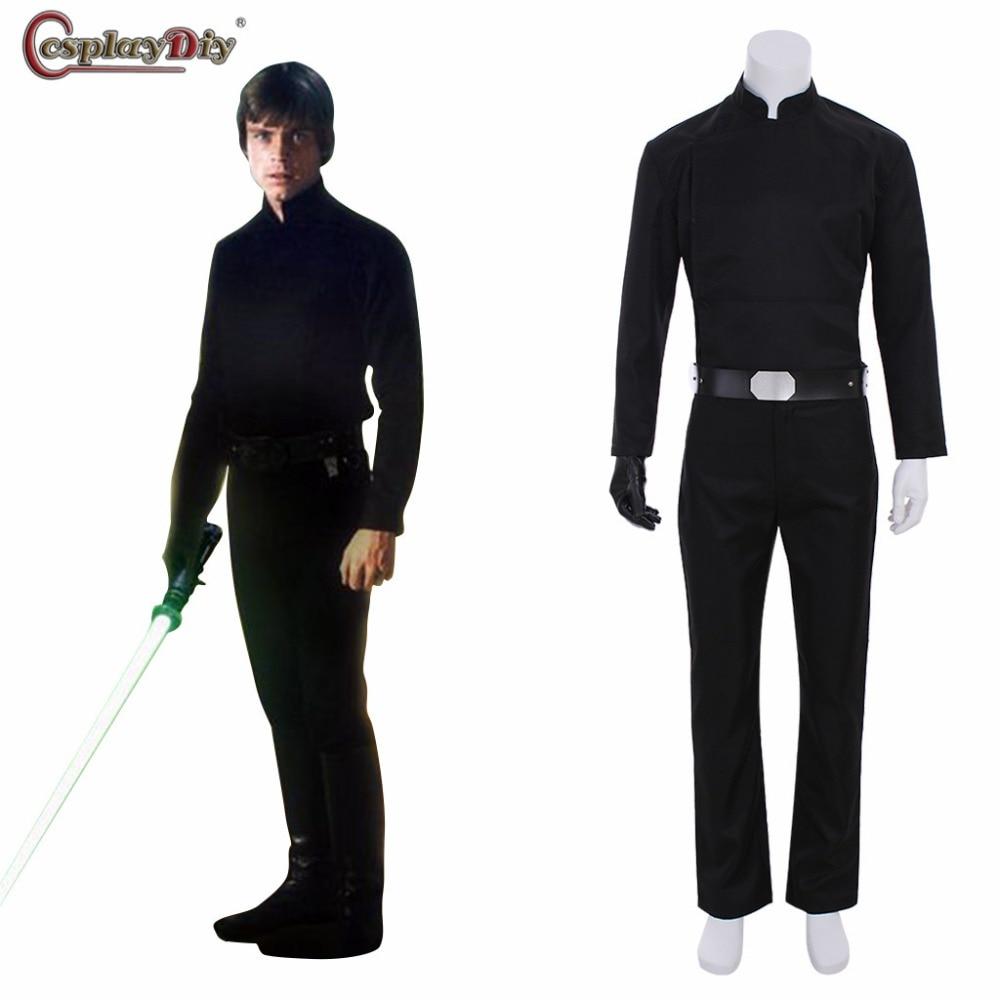 Cosplaydiy star wars le Retour Du Jedi Cosplay Luke Skywalker Costume Noir Costume Tenues Adulte Hommes Halloween fait sur mesure