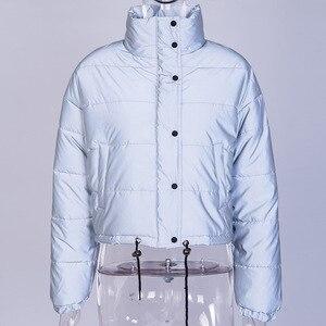 Image 3 - אופנה חורף רעיוני למטה מעילי נשים רסיס קצר מעיל נשי גולף מרופד מעיל לילה מבריק המשאף מעיל