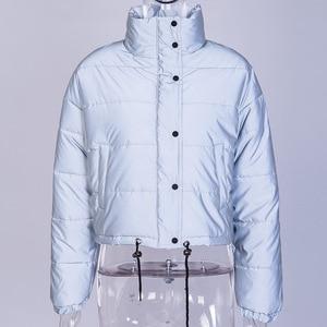 Image 3 - Veste dhiver réfléchissante à col roulé pour femme, manteau court argenté, rembourré, mode, nuit brillante