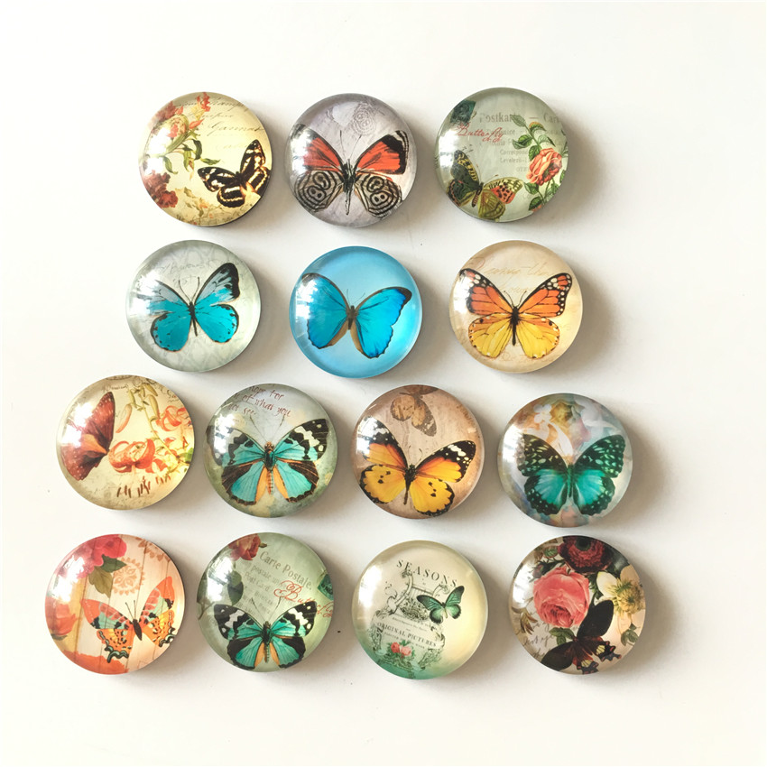 Free Shipping 14pcs Lot Various Butterfly Crystal Glass Fridge Magnet Cartoon Animal Message