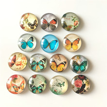 Free shipping (14pcs/lot)Various Butterfly Crystal Glass fridge magnet Cartoon animal message sticker Kitchen home Decor