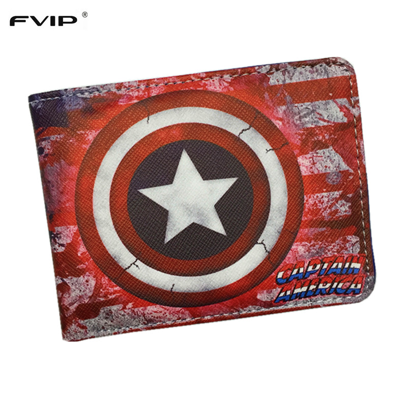 FVIP Comics Dc Marvel Wallet Hulk/Iron Man/ Thor/Captain America/Superman/Bat Man/Flash/Spider Man/Punisher Cartoon Wallets dc marvel comics wallets cartoon anime iron man spiderman captain america hulk creative gift purse kids folder short wallet