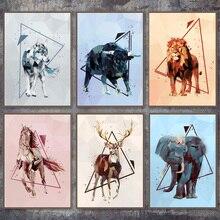 Elefante geométrico León Lobo oso ciervo carteles nórdicos e impresiones cuadro sobre lienzo para pared cuadros para decoración para sala de estar