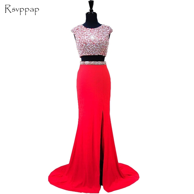 1b0e369079 US $198.0 |Two Piece Prom Dresses 2019 Sparkly Beaded Crystals Top Backless  African Sexy High Slit Red Satin Mermaid Prom Dress-in Prom Dresses from ...