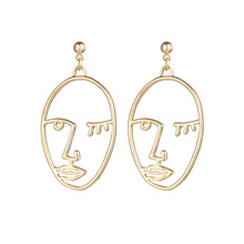 6a63667aa Punk Style Jewelry with Gold/Silver Color Picasso Face Earrings for Women  Gift Drop shipping