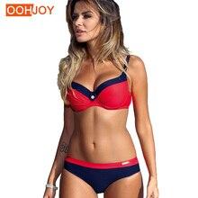 Купить с кэшбэком 2018 New Crystal Buckle Bikini Women Swimsuit Adjustable Strap Swimwear S-2XL Low Waist Push Up Halter Girl Beachwear Bikini Set