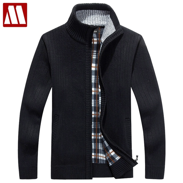 Men Fleece Sweater Casual Style Stand Collar Cotton Material Thin Wool Warm Thick Sweatercoat Autumn Winter Cardigan Size S-3XL