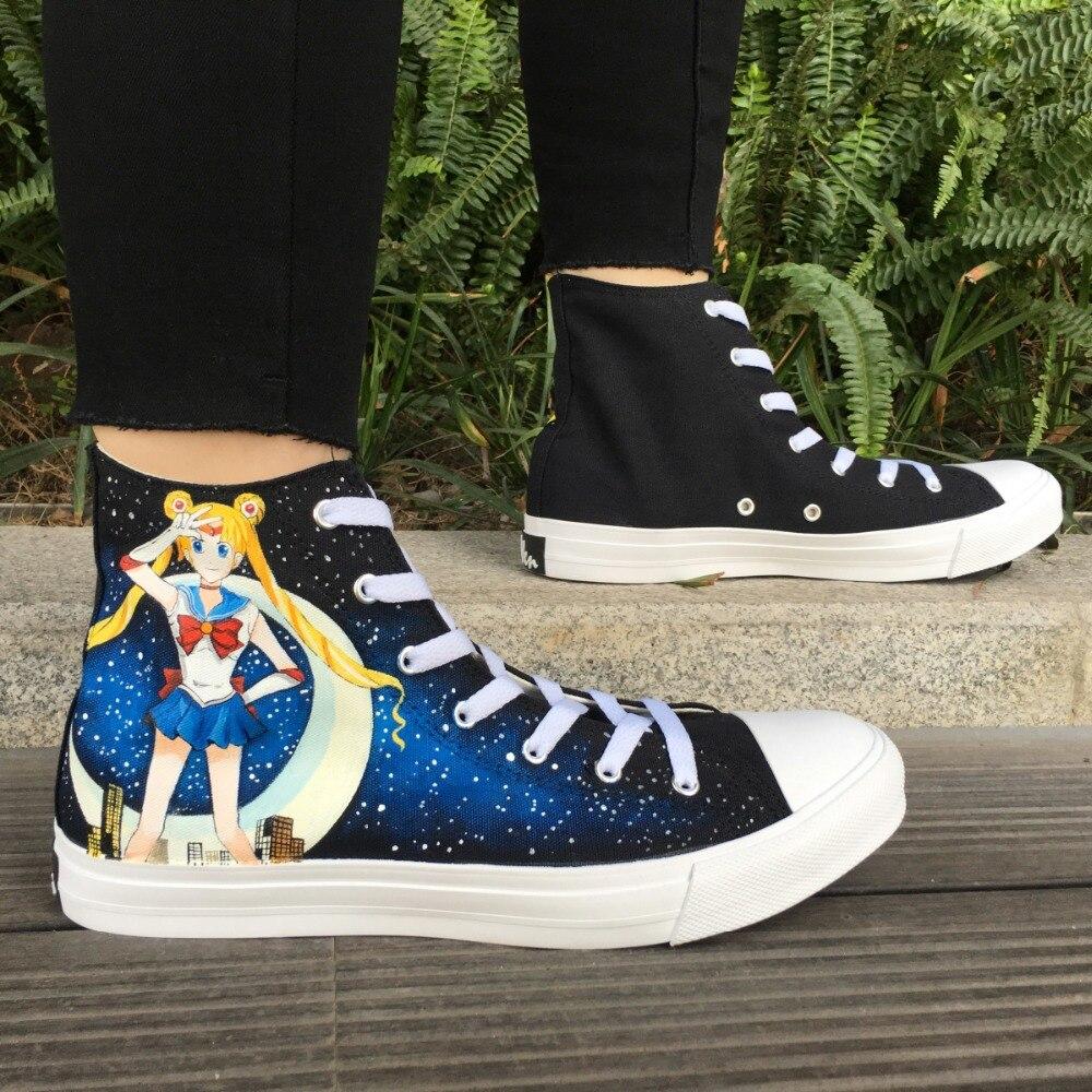 Вэнь черный ручная роспись обувь Аниме Дизайн Сейлор Мун на заказ Высокие холщовые спортивная обувь для женщин скейтборд плимсоллы д