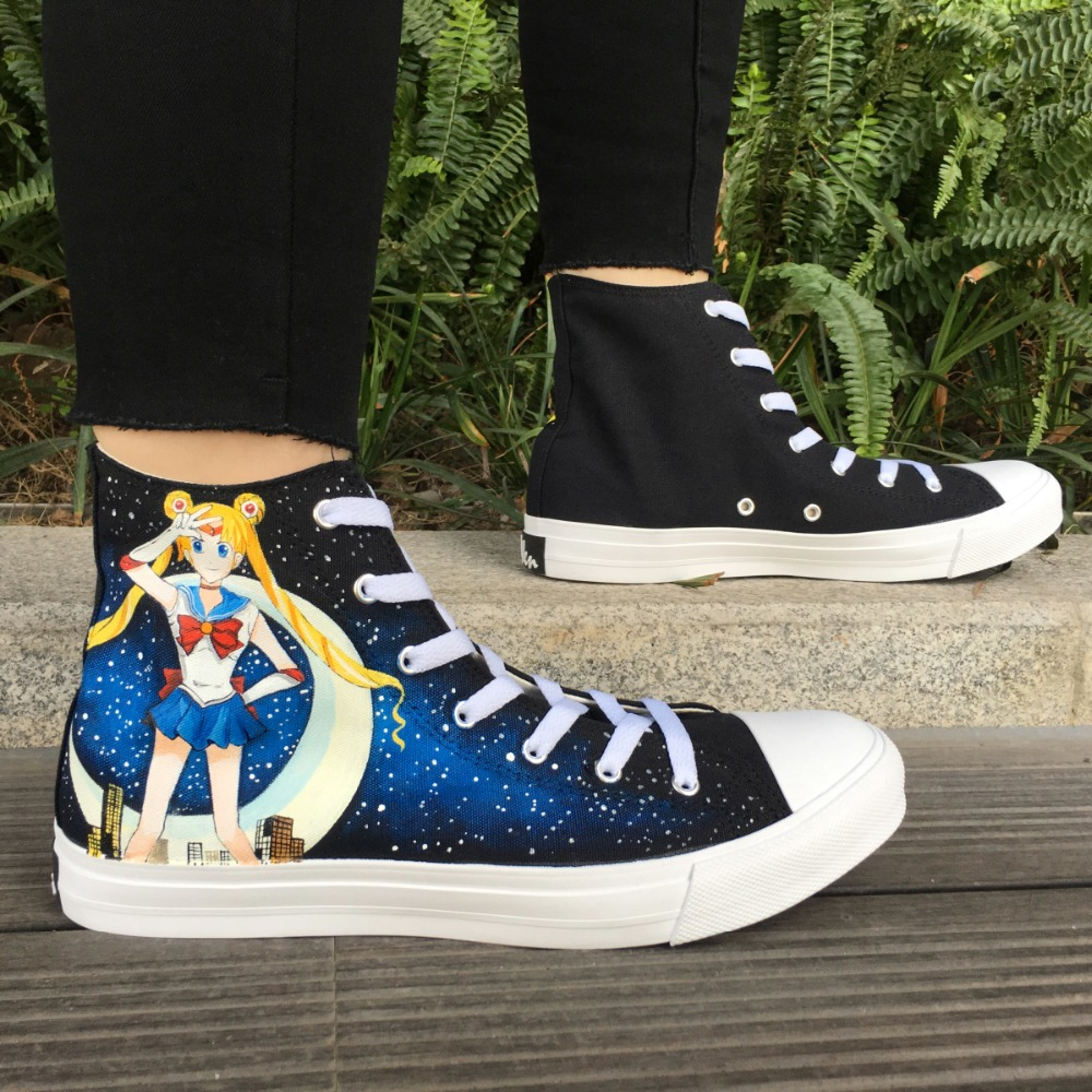 Wen Black Hand Painted Shoes Anime Design Sailor Moon Custom High Top Canvas Sneakers Women Skateboard Plimsolls for Girl