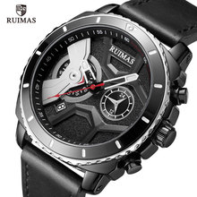 RUIMAS Quartz Watches Men Leather Strap Casual Wristwatch Top Brand Relogios Masculino Luxury clock Army Sport Watch 552Black
