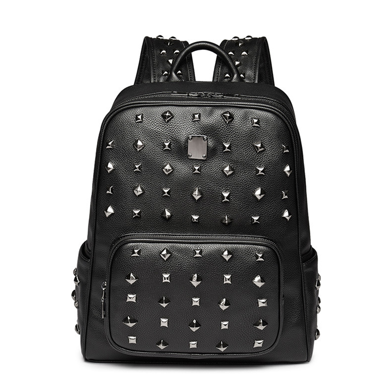 2017 New Backpack Rivets Korean Computer Package Female College Students Senior High School Student Large Capacity