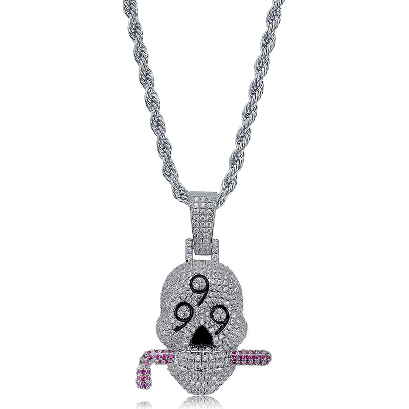 Hip Hop Jewelry 999 hoe Iced Out Chain Pendant Cubic Zircon Personalized Necklace for Christmas Gifts dropshippnig